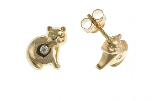 Cat Earrings Solid 9ct Yellow Gold Studs Kitten